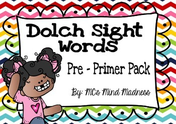 Dolch Sight Words Pre Primer Flash Cards