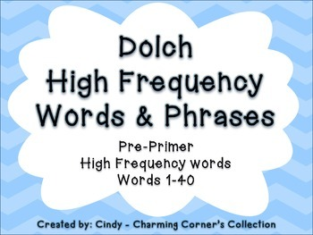 Dolch Pre-Primer High Frequency Words & Phrases