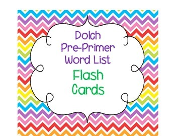 Dolch Pre-Primer List Flash Cards