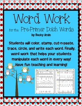 Dolch Pre-Primer Printables for Word Work