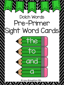 Dolch Pre Primer Word Wall Sight Word Cards- Green