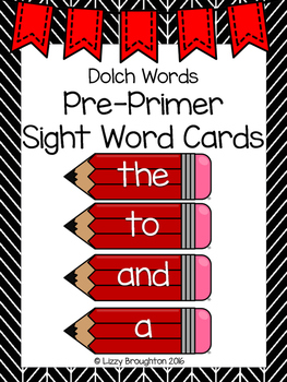 Dolch Pre Primer Word Wall Sight Word Cards- Red