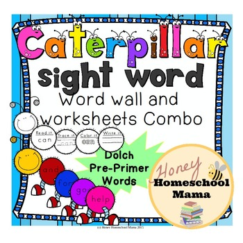 Dolch Pre-Primer Sight Word Caterpillar Combo Pack with Wo
