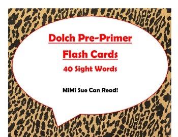 Dolch Pre-Primer Sight Word Flash Cards (Cheetah/Leopard w