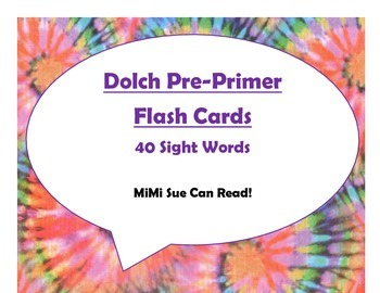 Dolch Pre-Primer Sight Word Flash Cards (Tie Dye with Purp