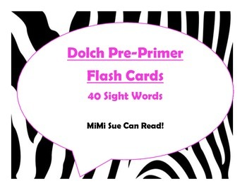 Dolch Pre-Primer Sight Word Flash Cards (Zebra with Hot Pi