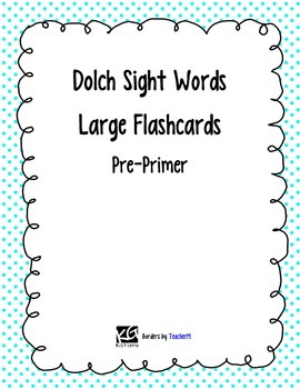 Dolch Pre Primer Sight Word Large Flashcards