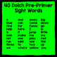 Dolch Pre-Primer Sight Word Letter Scissoring - A Sight Wo