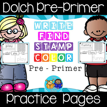 Dolch Pre-Primer Sight Word Practice Pages - Literacy Cent