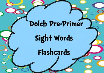 Pre-Primer Sight Words Flashcards