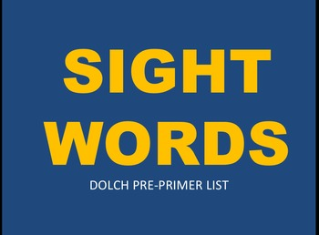 Dolch Pre-Primer Sight Words Practice PowerPoints