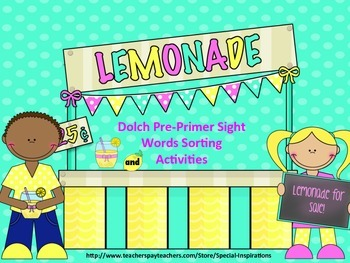 Dolch Pre-Primer Sight Words Sorting Activity (Lemonade St