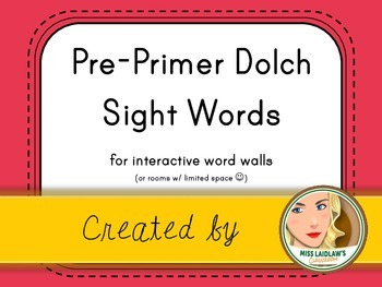 Dolch Pre-Primer Sight Words for Word Walls and Games (Dark Pink)