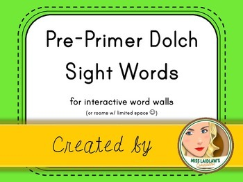 Dolch Pre-Primer Sight Words for Word Walls and Games (Neo