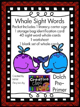 Dolch Pre-Primer Whale Sight Word Activity and Worksheet