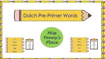 Dolch Pre-Primer Word Pencils
