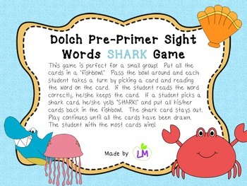 Dolch Pre-Primer Words Shark Game