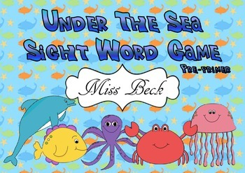 Dolch Pre-primer Seaworld Sight Words! Under the Sea theme