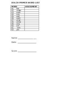 Dolch Primer Checklist