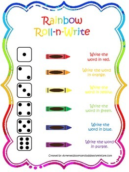 Dolch Primer Rainbow Roll and Write Sight Word Worksheets.