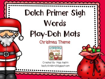 Dolch Primer Sight Words-Play Doh Mats Christmas Theme