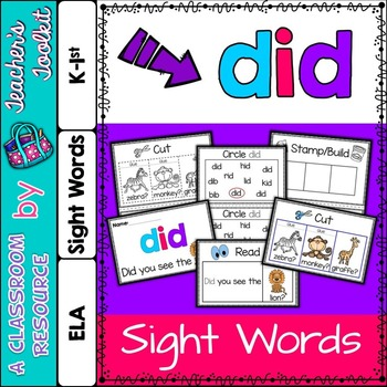 Dolch Primer Sight Word Booklet DID
