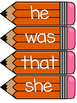 Dolch Primer Word Wall Sight Word Cards- Orange