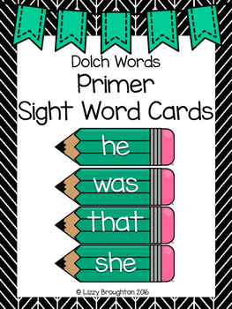 Dolch Primer Word Wall Sight Word Cards- Turquoise
