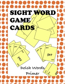 Dolch Primer Sight Word Game Cards