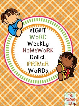 Dolch Primer Sight Word Weekly Homework
