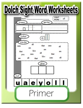 Dolch Primer: Sight Word Worksheets