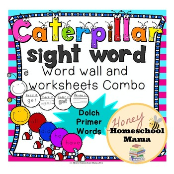 Dolch Primer Sight Words Caterpillar Combo Pack with Word