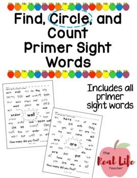 Primer Find and Count Sight Word Work Center or Independen