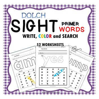 Dolch Primer Sight Words Write, Color, and Search