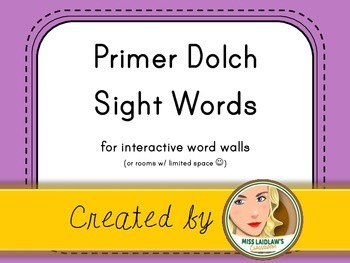 Dolch Primer Sight Words for Word Walls and Games (Purple)