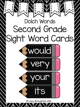 Dolch Second Grade Word Wall Sight Word Cards- Black