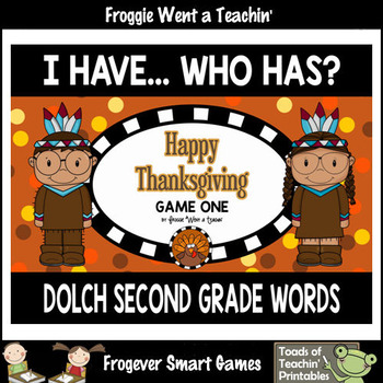 "Dolch Second Grade Words I Have... Who Has? ""Happy  Thanksgiving"""