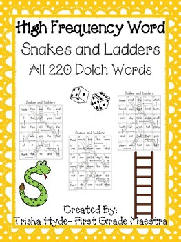 Dolch Sight Word 220 Words Center Game Snakes and Ladders