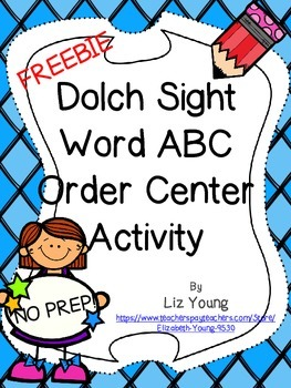 Dolch Sight Word ABC Order FREEBIE