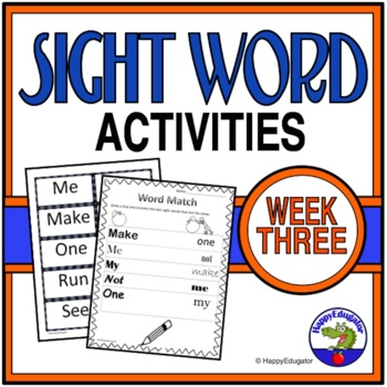 Dolch Sight Words Activities - Week 3