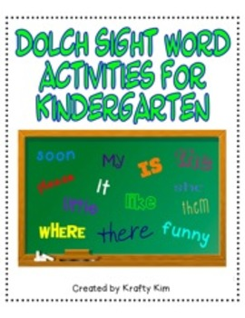 Dolch Sight Word Activity 2 Bundle for Kindergarten