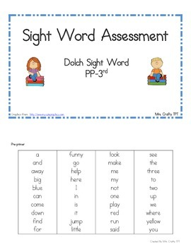Dolch Sight Word Assessment and Flashcards