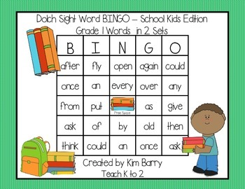 Dolch Sight Word BINGO - Grade 1 Kids at School Edition