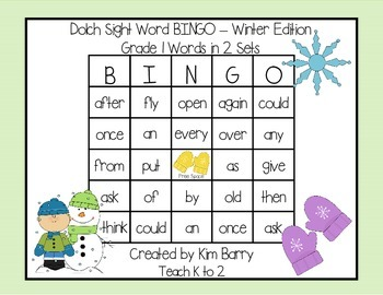 Dolch Sight Word BINGO - Grade 1 Winter Edition