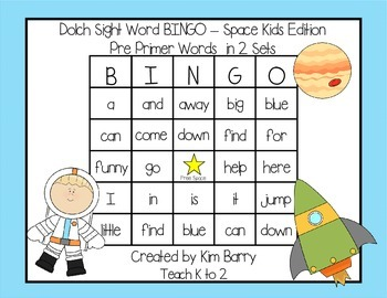 Dolch Sight Word BINGO - Pre Primer Space Kids Edition