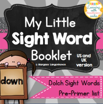 Dolch Sight Word Booklet - down (Pre-Primer)