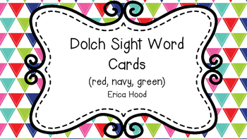 Dolch Sight Word Cards (Navy, Red, Green)