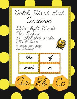 Dolch Sight Word Flash Cards with Nouns 316 cards - Cursiv