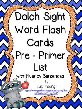 Dolch Sight Word Flashcards  - Pre Primer List