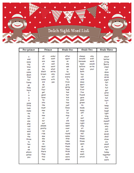 Dolch Sight Word List